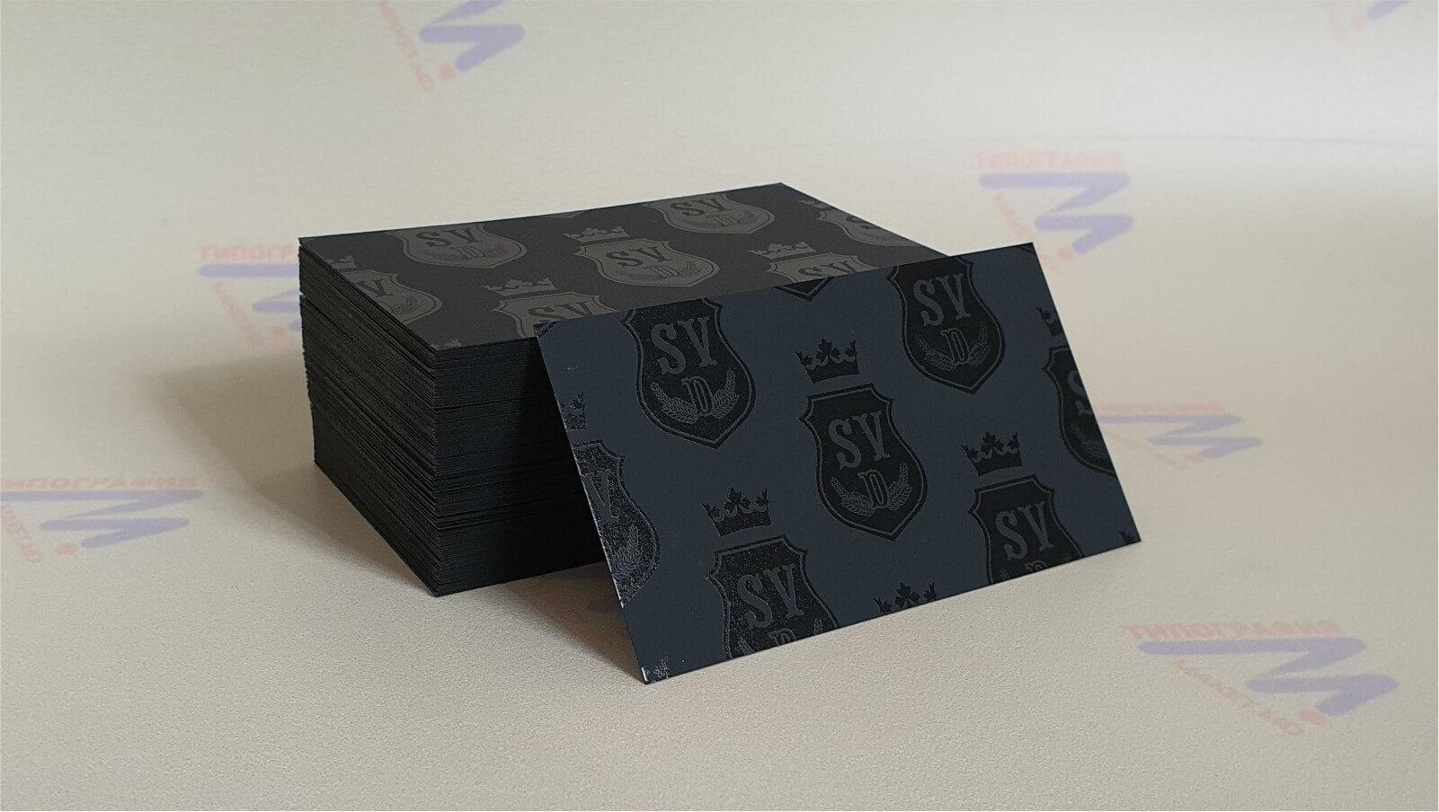 визитки черные с лакировкой