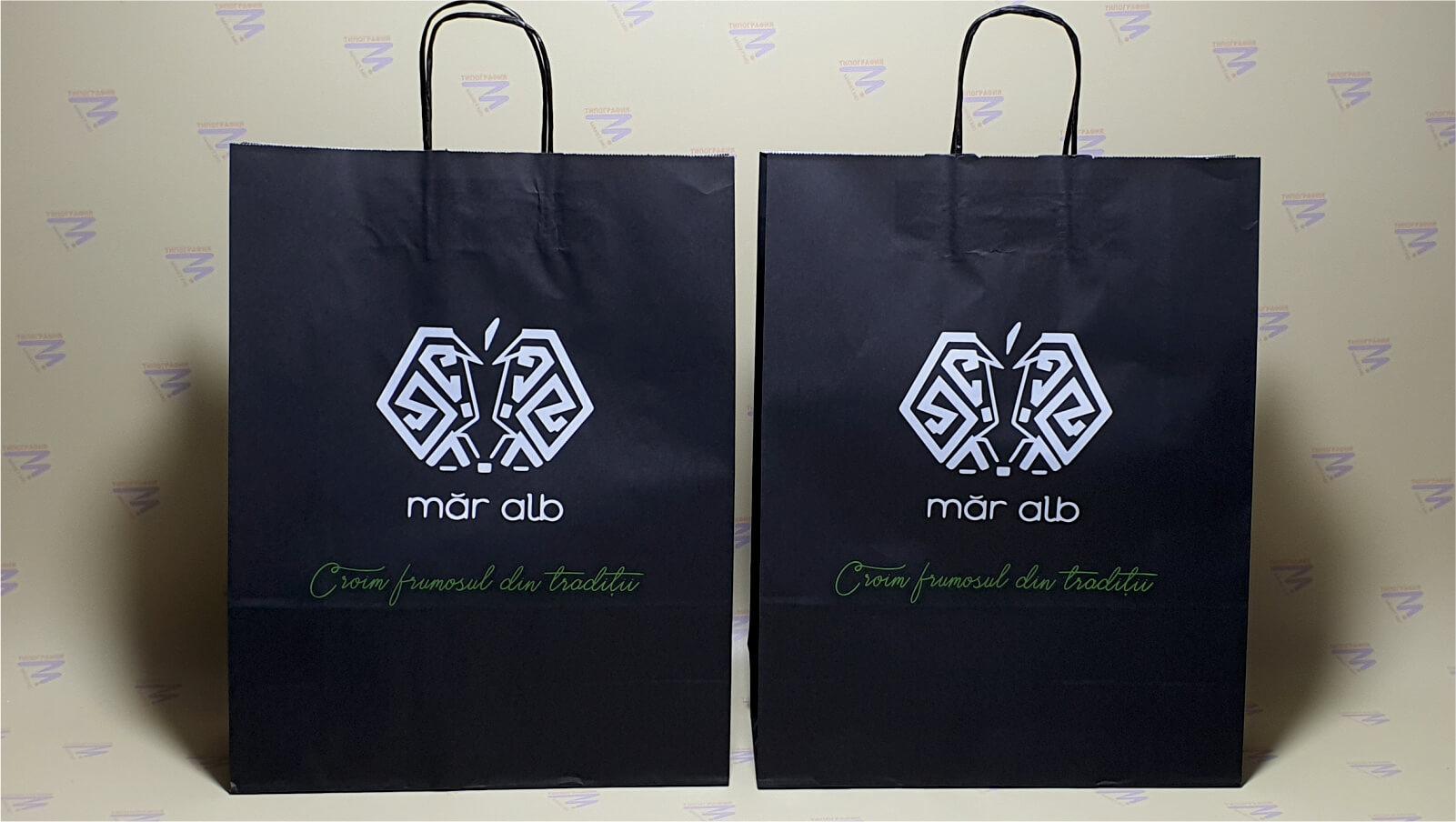черный краф-пакет печать в два цвета лого фото 9