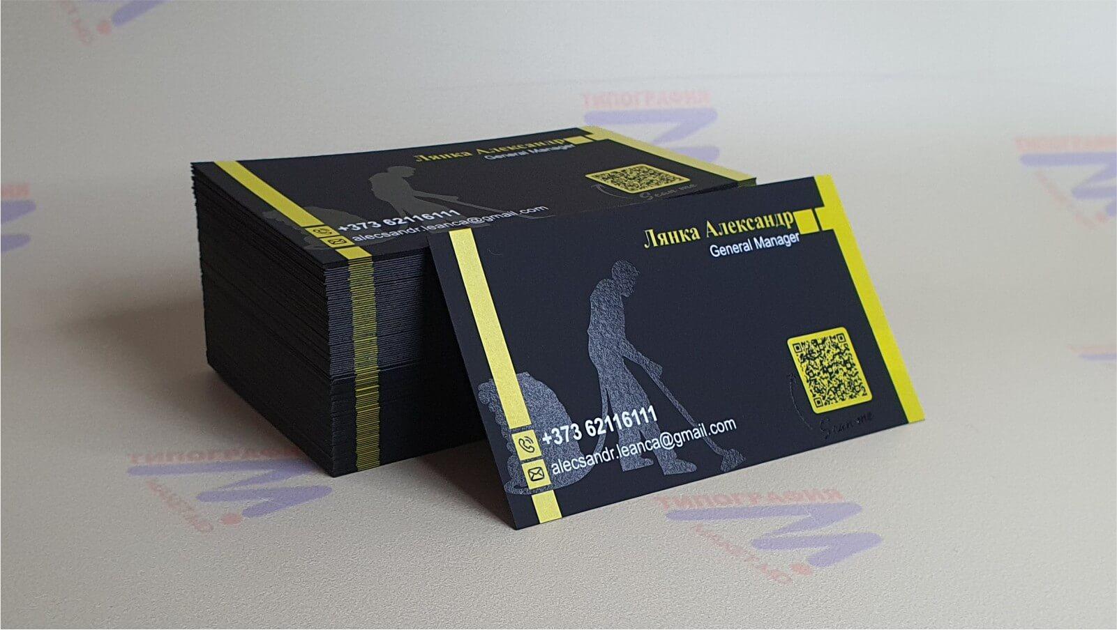 черно желтые визитки с выборочной лакировкой и шелкографией фото 4