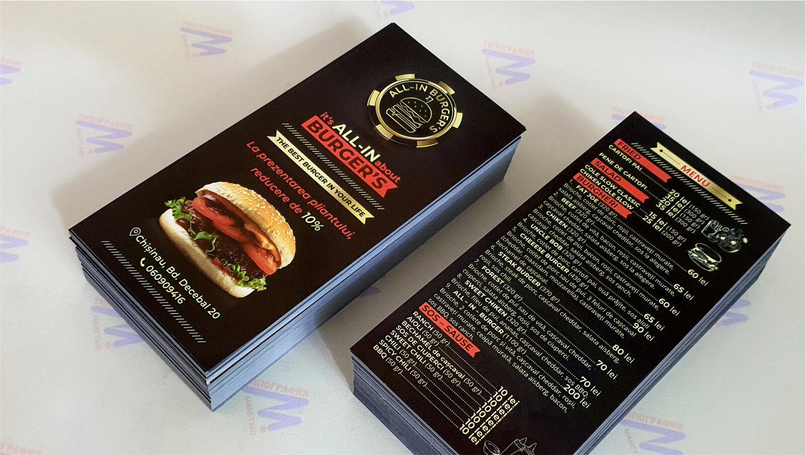 черное меню для ресторана листовка печать и макет фото 2